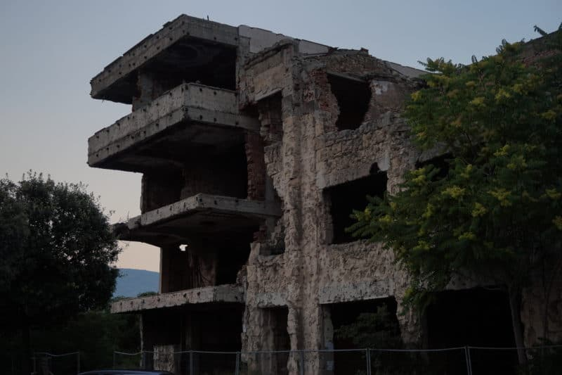 You will find many destroyed buildings from the Yugoslavian War