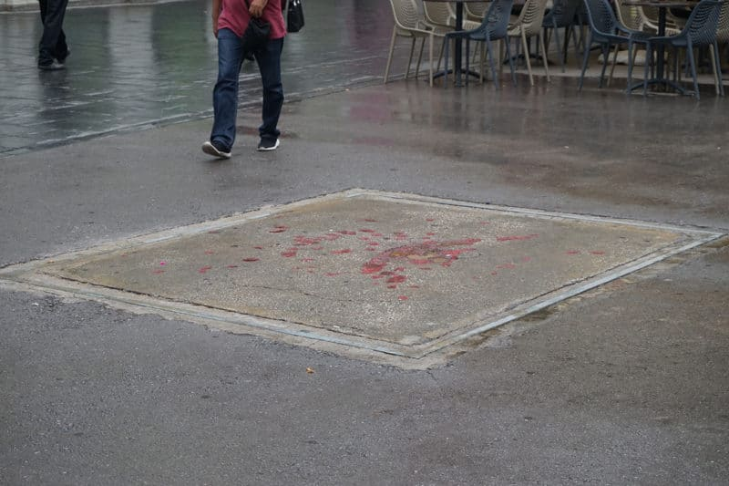 Blood drops as memorial for people who died during the bomb explosions in Sarajevo