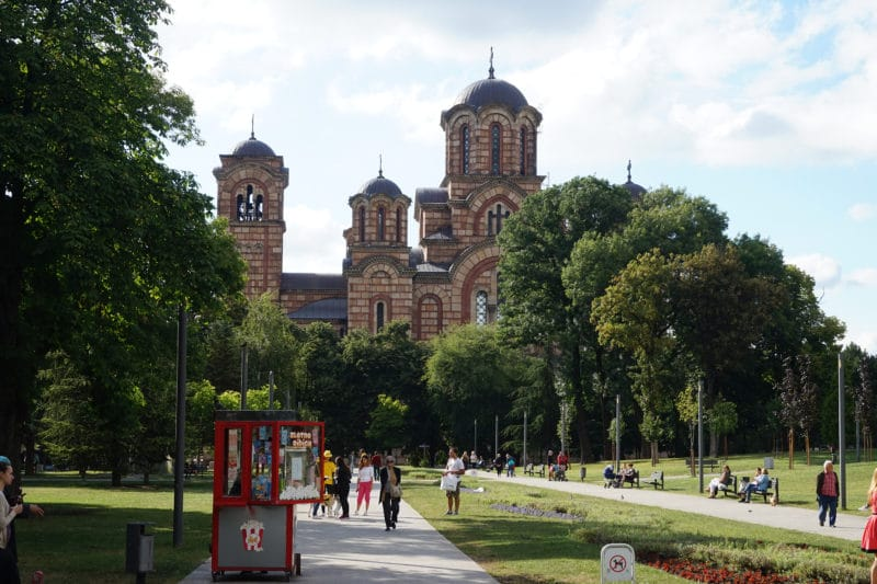 Saint Mark Church surrounded by a lovely park