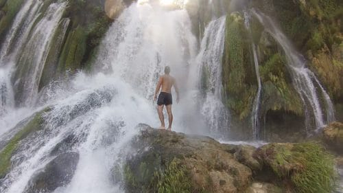 Enjoying the Kravice Waterfalls