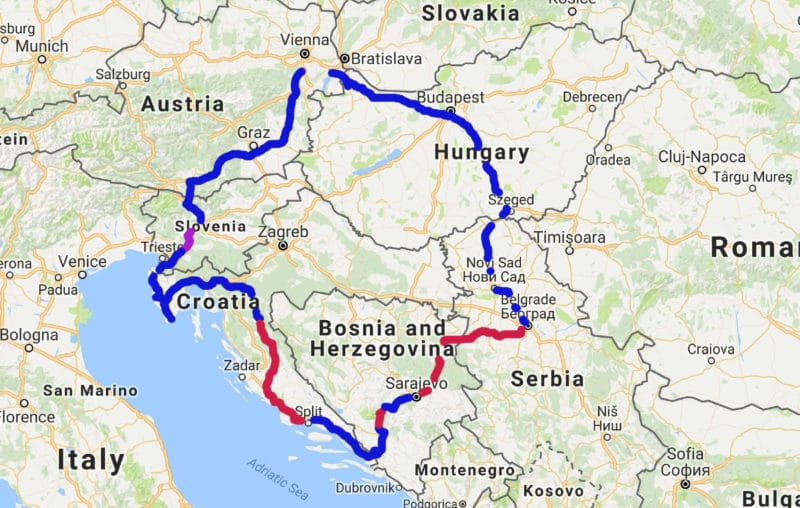 "Our entire trip to the Balkan and back, blue lines symbolize the rides we got for ""free"" / hitchhiked while the red lines stand for the bus rides, the purple line was a car sharing ride"