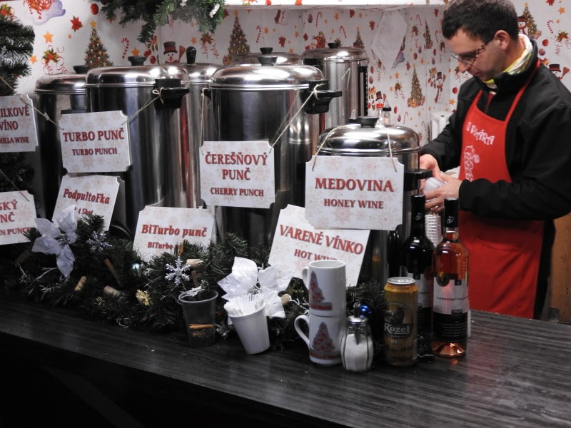 Typical hot-drinks offered in Bratislava in winter