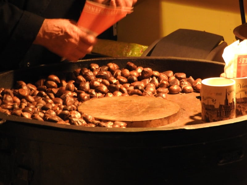 Maroni – baked sweet chestnut which is typical street snack in winter