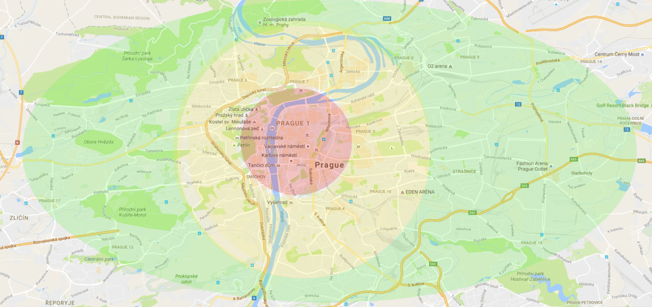 The red circle symbolizes Prague downtown, yellow circle stands for the broader city center while in the green circle you should be able to find the cheapest flats to rent in Prague.