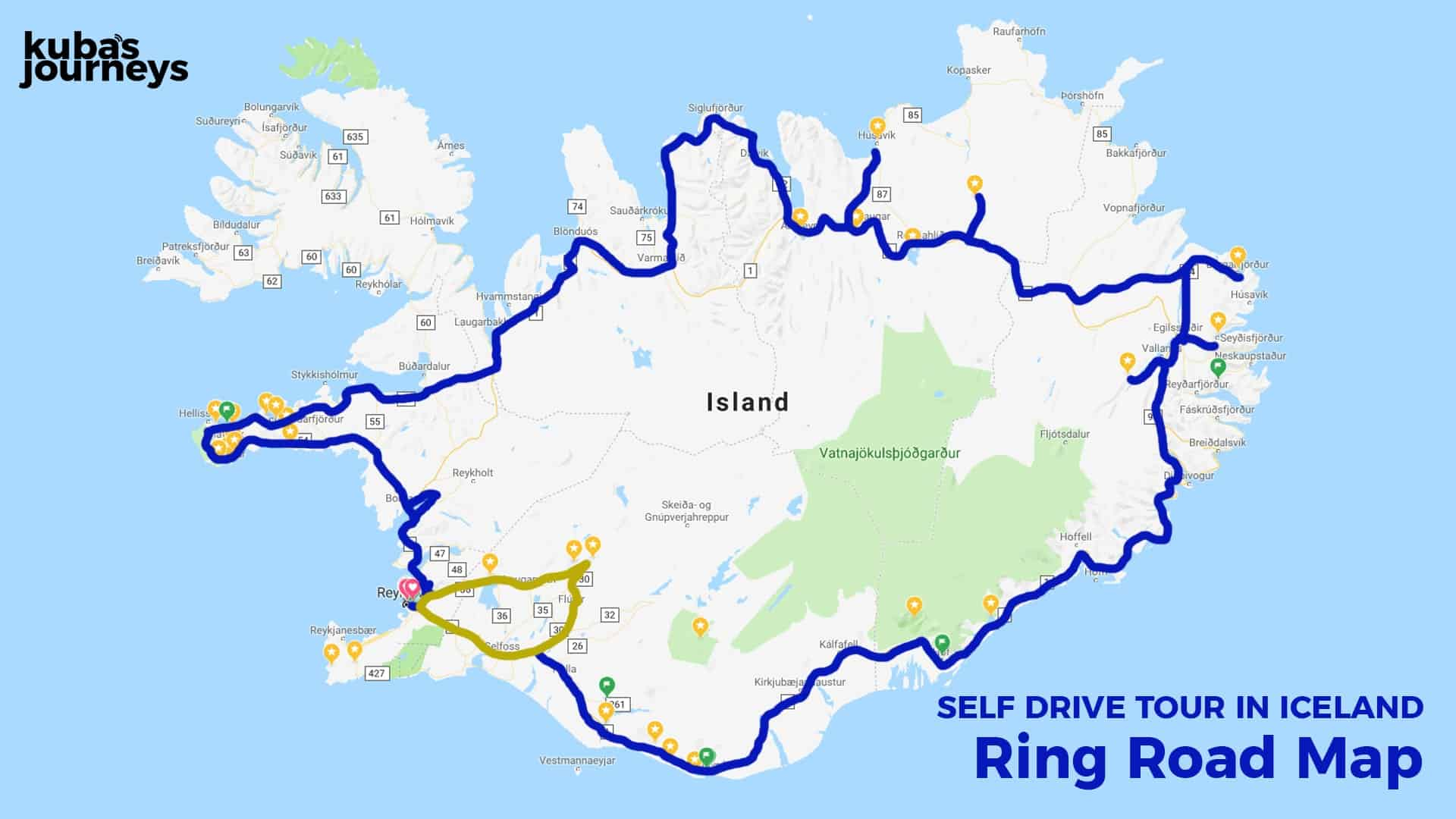 Self Drive Tour Iceland - Map