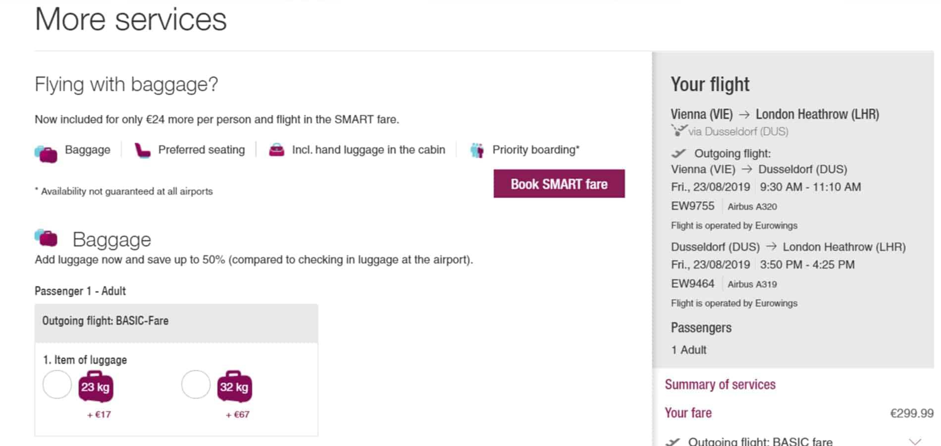 avoid-extra-service when buying flights